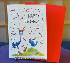"""Blank Card - Birthday Card - """"Happy Bird-day"""" - Birds - Party Hats - Confetti - Party - Celebration - Whimsical - Fun - Colorful - Cheerful by CreateThriveGrow on Etsy"""
