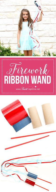 DIY Firework Ribbon Wands - with the 4th of July right around the corner, why not throw together a few of these fun firework ribbon wands so that even the littlest Americans can celebrate.