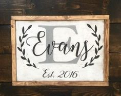Perfect gift for the newlyweds or new home! Dark stain, 18 in diameter (1 thick) pine wood sign. Beautiful flower detail with last name as well as established year in white outdoor grade, permanent vinyl. Comes ready to hang with a sawtooth hanger on the back.  **PLEASE NOTE: Please choose sign medium: vinyled ($35- sample photo) or painted ($52)