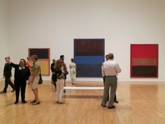 The real RED, yellow, black, blue Rothkos at RED the play's Opening Night party at MOCA LA