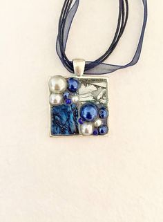 Items similar to Mosaic stained glass pendant necklace sapphire blue and silver Van Gogh tile, blue and silver glass pearl beads on Etsy Fused Glass Jewelry, Polymer Clay Jewelry, Resin Jewelry, Beaded Jewelry, Jewelry Kits, Jewelry Making, Jewelry Ideas, Diy Jewelry, Bracelets