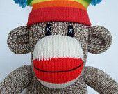 Traditional red heel sock monkey