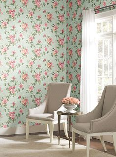 Lovely blue linen background with vibrant pink, yellow and white roses look so real you can almost smell them.  Rose Trail by York available at http://lelandswallpaper.com