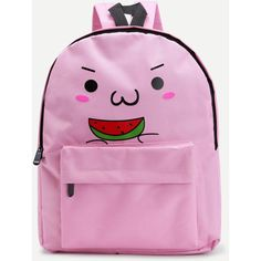 Watermelon Cartoon Print Backpack ($20) ❤ liked on Polyvore featuring bags, backpacks, pink bag, day pack backpack, cartoon character backpacks, handle bag and comic backpack
