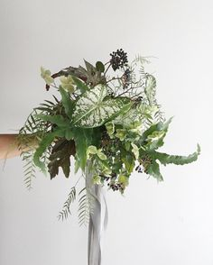 Wedding Flower Bouquets All Greenery Wedding Bouquet - 4 - These trendy greenery bouquets can be a HUGE money-saver. Botanical Wedding, Floral Wedding, Green Wedding, Tropical Wedding Bouquets, Wedding Colors, Fall Wedding, Rustic Wedding, Bridal Flowers, Bridal Bouquets