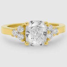 18K Yellow Gold Trio Diamond Ring // Set with a 1.53 Carat, Cushion, Ideal Cut, H Color, VVS2 Clarity Diamond #BrilliantEarth