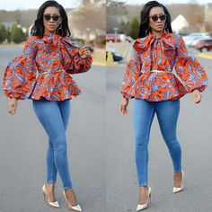 """Ankara Style on Bebuzee: """"The best casual outfit: ankara blusa, jeans and gold Decolleté. To complete the look, we can combine an Orange and Gold Clutch Bag as in the link I added . African Maxi Dresses, Latest African Fashion Dresses, African Print Fashion, Africa Fashion, African Attire, African Blouses, African Tops, Modelos Fashion, African Fashion Designers"""