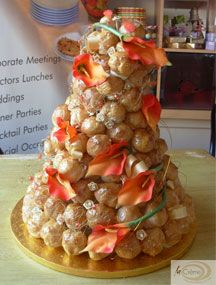 Dummy Croquembouche decorated with orange lilies