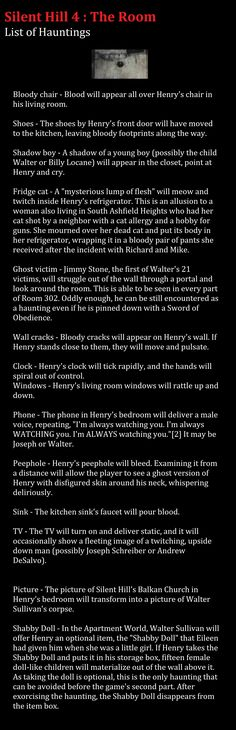 Silent Hill The Room - List of Hauntings. Silent Hill, Footprint, Videogames, Gaming, Board, Room, Bedroom, Video Games, Rooms