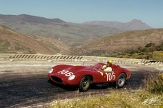 Targa Florio - Musso [pic] and Gendebien on Ferrari 250 TR and winning the 1958 Targa Florio. Old Sports Cars, Vintage Sports Cars, Classic Sports Cars, Sports Car Racing, Vintage Race Car, Road Racing, Sport Cars, Vintage Auto, Auto Racing