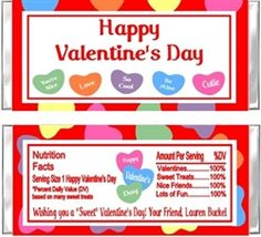 Personalized Valentine's Day Hershey Candy Bar Wrapper Party Favor