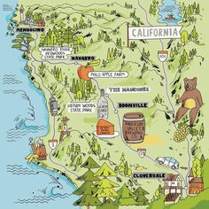 Uncorking the Perfect Long Weekend in California's Anderson Valley - WSJ: Mendocino California, Sonoma California, Visit California, California Travel, Northern California, California Wine, Barolo Wine, Pictorial Maps, Apple Farm