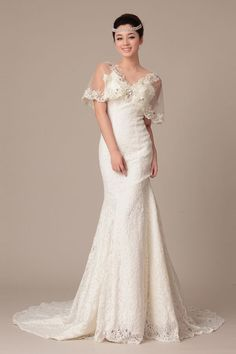 Mermaid Sheer Butterfly Sleeves V-neck Princess Waist Layered Court Lace Wedding Dress w/ Crystals