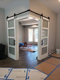 Basement Remodel Diy, Basement House, Basement Bedrooms, Basement Remodeling, Basement Ideas, Bedroom Divider, Room Divider Doors, Room Doors, Double Doors Interior