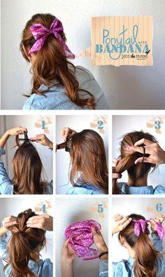 #DIY #Ponytail #Bandana #Hair #Bow http://jointhemood.blogspot.com.es/2012/10/ponytail-with-bandana_1536.html