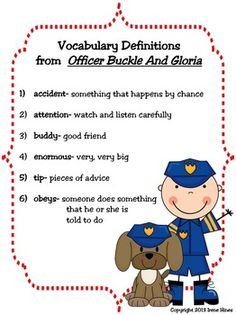 OFFICER BUCKLE AND GLORIA: A Treasure Of A Unit {Based On Common Core Standards} ~This Unit Is Aligned To The CCSS And EACH PAGE Has The Specific CCSS Listed~This is a 101 page resource and activity packet. $