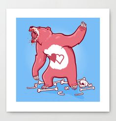Terror Bear  Pop Art Print by Zoodio27 on Etsy