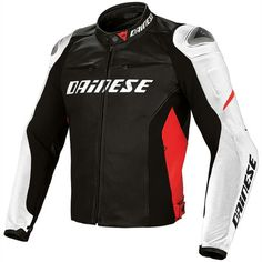 Dainese Racing D1 Leather Jacket - Black White Red