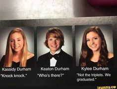 """50 Hilariously Brilliant Yearbook Quotes That Deserve Awards - Funny memes that """"GET IT"""" and want you to too. Get the latest funniest memes and keep up what is going on in the meme-o-sphere. Best Senior Quotes, Senior Yearbook Quotes, Yearbook Photos, Funny Yearbook Pictures, Graduation Quotes Funny, Yearbook Ideas, Hilarious Photos, Prom Pictures, Stupid Funny Memes"""