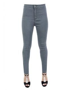 New Womens Colour High Waist Pants Skinny Fit Jeans Stretchy Trousers Size 6-14