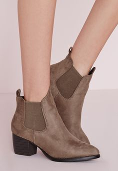8947e0a109c Missguided - Low Heel Chelsea Boots Taupe Boot Shop