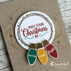 Merry and Bright — (Amy's Paper Crafts) Stampin Up Christmas 2018, Diy Christmas Tags, Chrismas Cards, Christmas Cards 2017, Merry Christmas Card, Xmas Cards, Holiday Cards, Merry And Bright, Homemade Cards