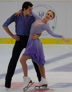 Julia Biechler and Damian Dodge of the United States skate during the junior ice dance short dance of the ISU Junior Grand Prix of figure skating on September 10, 2015 in Linz, Austria