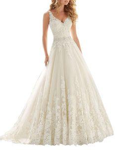 d730fbb028 Abaowedding Women s A-line Double V-Neck Lace Chapel Train Long Wedding  Dresses -