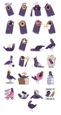 Trash Doves Sticker Pack on Behance Syd Weiler Bird Illustration, Character Illustration, Bird Drawings, Animal Drawings, Trash Dove, Emoji, Emoticon, Modelos 3d, Creature Design
