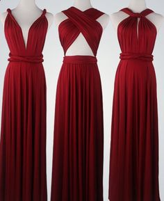 Wine Red Bridesmaid Dress Infinity Dress by VicenteDresses