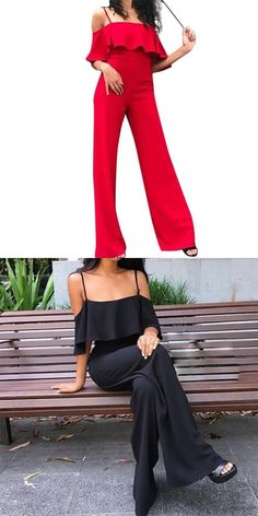 5ee545a19c0 Solid jumpsuits for women 2018 camisole playsuit casual long pants trousers  sexy romper overalls s8719 dropship · Red JumpsuitBodycon ...