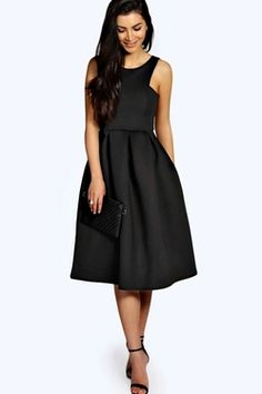 May Scuba Cutaway Neckline Midi Dress