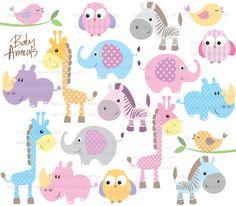 Baby Animals Clip Art Cute Baby Shower Pastel door MayPLDigitalArt, $9,90