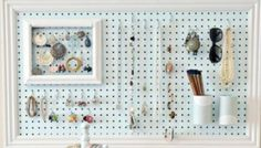 Hang jewelry on a peg board