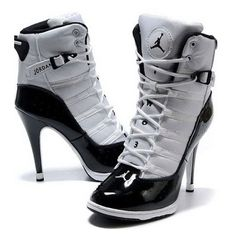 dcf3cfd2d99c Nike 2013 New Women Air Jordan High Heels Shoes White Black ❤ liked on  Polyvore featuring shoes