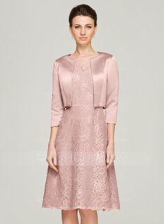 A-Line/Princess Scoop Neck Knee-Length Beading Zipper Up Sleeves 3/4 Sleeves Yes 2015 Other Colors Spring Summer Fall General Plus Lace Mother of the Bride Dress