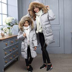 Novo 2016 Moda Quente jaqueta de Inverno Menina Para Menina Longa Seção Capuz de Pele De pato Para Baixo Casaco Realmente Grosso Parka Para Crianças Outerwear