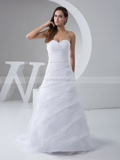 Sweetheart Neckline Pleated Organza and Satin Bridal Dress