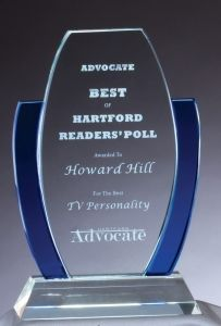 Clear and Blue Crystal Award