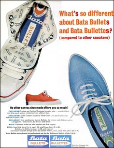 "June 1965 ad from Ebony Magazine notes the fact that ""Bata Bullets were chosen for professional use by the Baltimore Bullets of the N.B.A."" This Bullets team was formed in 1961 as the Chicago Packers and are known today as the Washington Wizards.  #batashoes #120yearsadvertising"