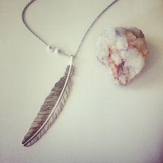 Baubles & Bobbies Silver Feather Necklace with Shell Bead Accents