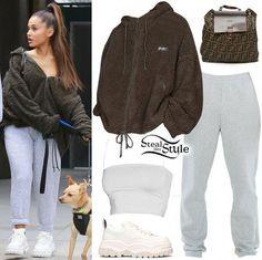 Ariana Grande's Clothes & Outfits Ariana Grande Outfits Casual, Ariana Grande Style, Chill Outfits, Trendy Outfits, Cute Outfits, Fashion Outfits, Ariana Grande Clothes, Sport Outfits, Fashion Mode