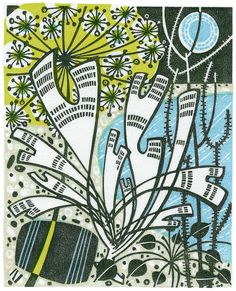 Beach with Alexanders - wood engraving by Angie Lewin - printmaker