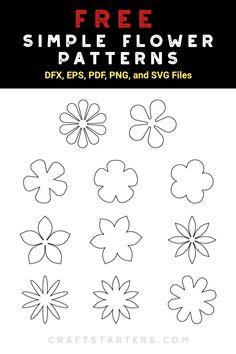 Flower Outline, Flower Svg, Flower Template, Pach Aplique, Felt Flowers Patterns, Simple Embroidery Designs, Flower Silhouette, Flower Pattern Design, Embroidery Flowers Pattern