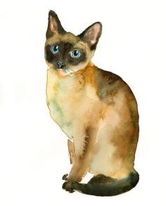 CAT by DIMDI Original watercolor painting 8x10inch by dimdi