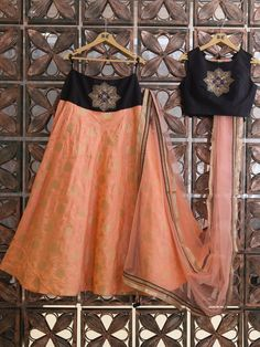 Peach Brocade Silk Lehenga Choli By G3+ Video Shopping
