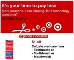 Target Save $1.00 on Colgate Oral Health Product via Mobile Coupon – US