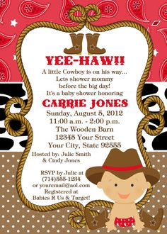 Baby Cowboy Baby Shower InvitationYOU by LCsCustomInvitations, $15.00