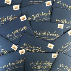 Envelope Inspiration: Navy and Gold Brush Lettering & Calligraphy Envelopes by Twinkle & Toast