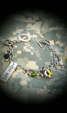 Army Wife Camo bracelet by carlyshomefront on Etsy, $25.00